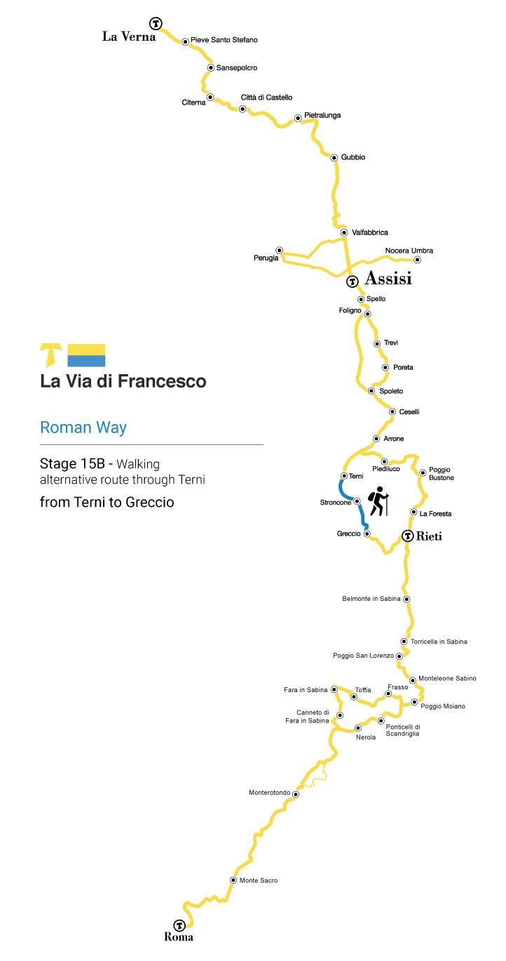 Alternative route through Terni stage 15b from Terni to Greccio