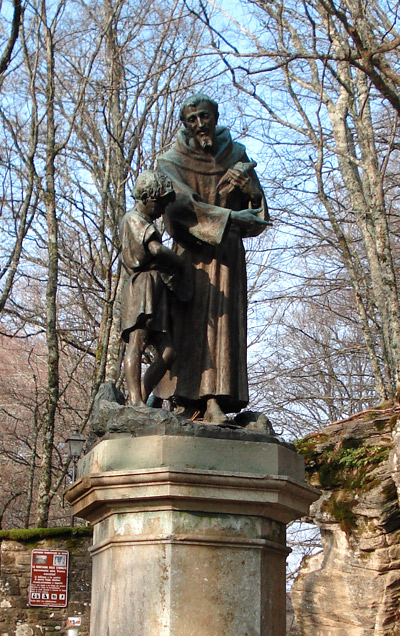 Statue of Saint Francis of Assisi at La Verna. St Francis' Way - Via di Francesco